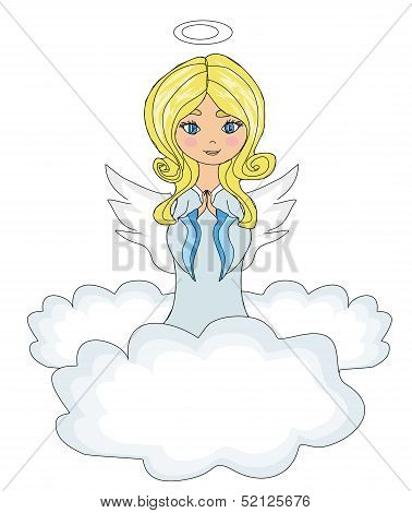 Sweet Little Girl Angel Praying While Kneeling On The Clouds