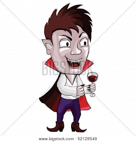 vampire man on a white background. with a glass of wine. poster