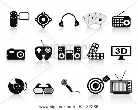 Black Home Entertainment Icons Set