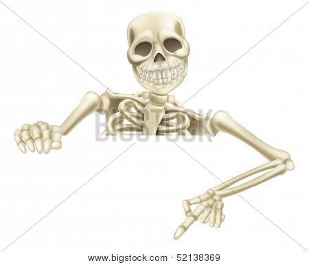 An illustration of a cartoon Halloween skeleton pointing down at a sign or scroll poster