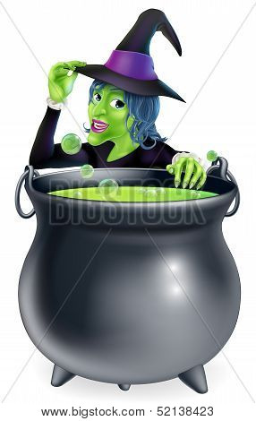 Halloween Witch And Cauldron