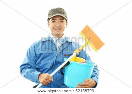 Janitorial cleaning service isolated on white background poster