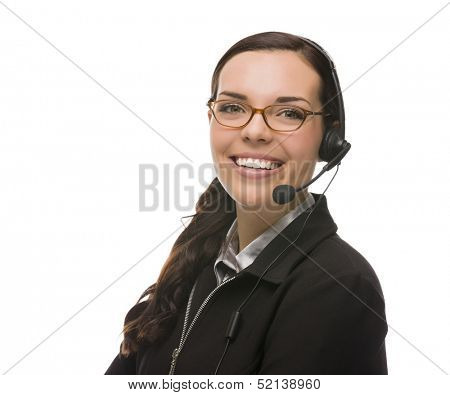 Helpful Mixed Race Receptionist Wearing Phone Head-set Isolated on White Background.
