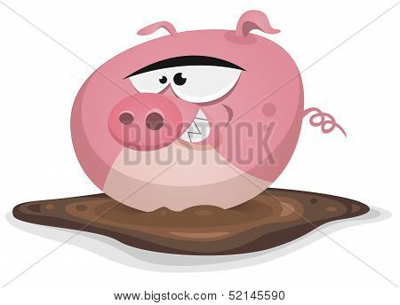 Illustration of a cartoon farm pig character taking a wash in his mud bath poster
