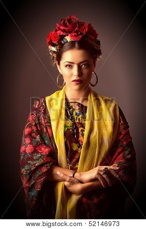 Portrait of a beautiful aristocratic woman in historic dress. poster