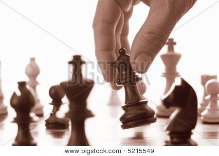 Chess Game Black Queen Advances