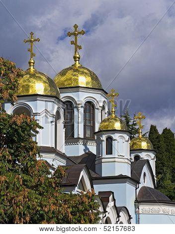 Church Domes Against The Dark Sky