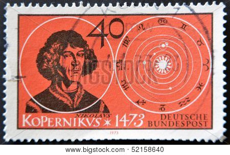 Germany - Circa 1973: Stamp Printed In The Germany Shows Nicolaus Copernicus Renaissance Astronomer