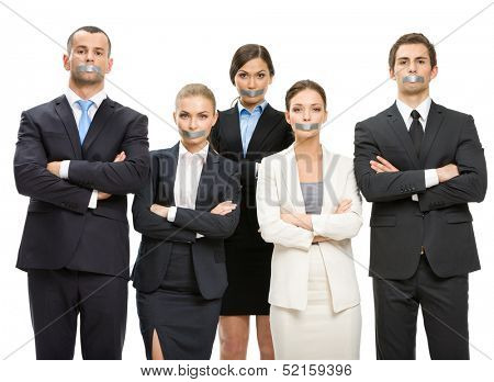 Group of managers with taped mouths and their hands crossed, isolated on white. Concept of slavery and routine work
