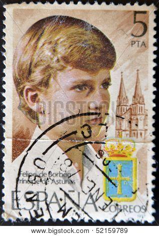A stamp printed in Spain shows the Prince of Asturias Felipe de Borb�n