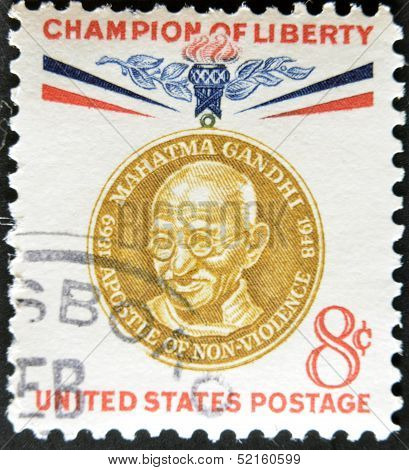 United States - Circa 1960: Stamp Printed By United States, Shows Mahatma Gandhi, Circa 1960