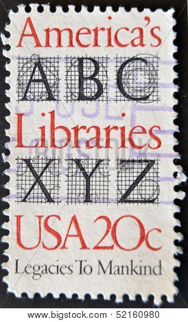 Usa - Circa 1982 : A Stamp Printed In The Usa Shows America?s Libraries, Legacies To Mankind