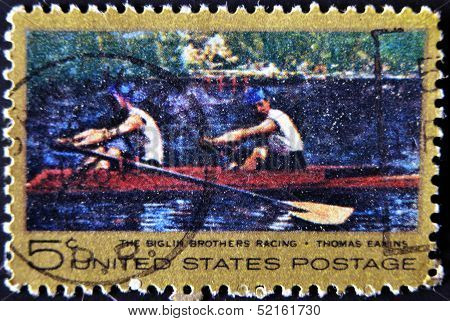 Usa - Circa 1967: A Stamp Printed In Usa Dedicated To The Biglin Brothers Racing, Circa 1967