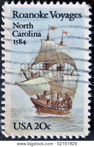 Usa - Circa 1984 : A Stamp Printed In The Usa Shows Roanoke Voyages North Carolina 1584, Circa 1984