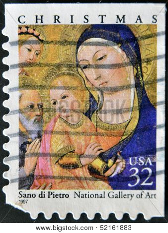 United States - Circa 1997: Stamp Printed By United States, Shows Madonna By Sano Di Pietro