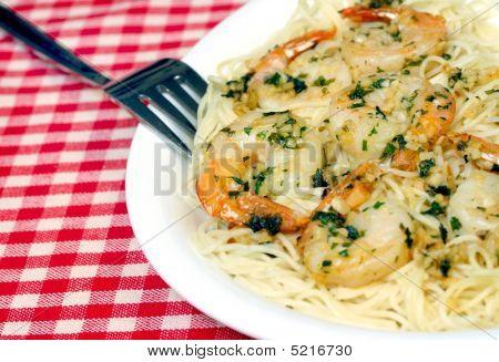 Shrimp Scampi On Plate Close Up