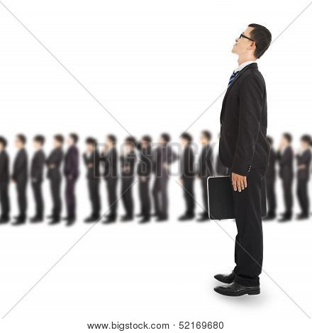 Young Business Man Waiting On The Line For Interview