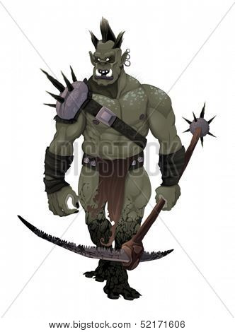Warrior ogre. Vector isolated character.