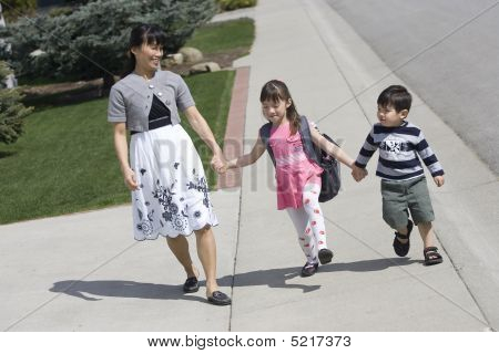 Family Takes A Walk.