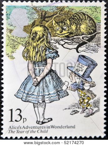 United Kingdom - Circa 1979: A Stamp Printed In Great Britain Shows Alice's Adventures In Wonderland