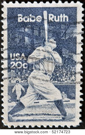 a stamp printed in the USA shows image of baseball great Babe Ruth