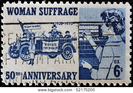 A stamp printed in the USA commemorating the 50th anniversary of women's suffrage