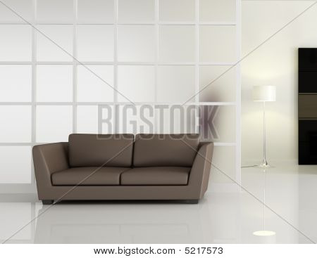Modern Interior With Brown Leathe Sofa