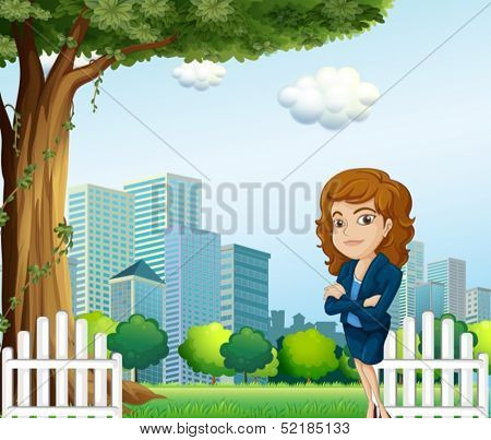 Illustration of a girl relaxing on her breaktime near the tree