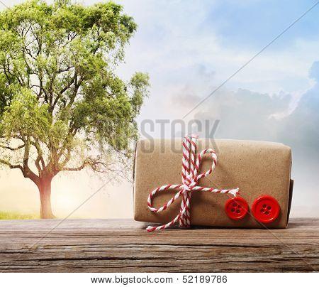 Handmade Gift Box On A Fantasy Landscape