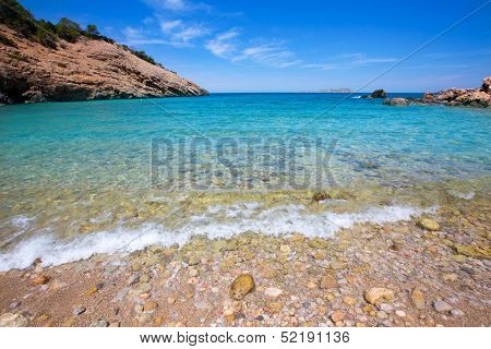 Ibiza Cala Moli beach with clear water in Balearic Islands San Jose