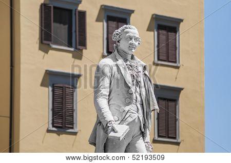 Carlo Osvaldo Goldoni Statue Located In Florence, Italy