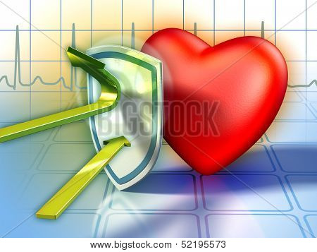 Shield protecting the heart from harmful substances. Digital illustration.