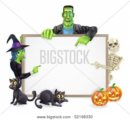 Halloween Monsters Background Sign