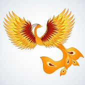 Phoenix with straighten wings. Abstract vector illustration. poster