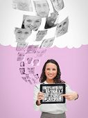 Smiling human resources director choosing future employees on digital tablet poster