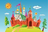 Ancient castle vector. Illustration. Sun. Blue sky. poster