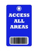 Access all areas blue pass with bar code isolated on white background. poster