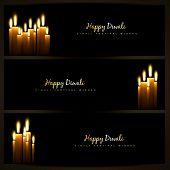 happy diwali indian festival design headers set poster