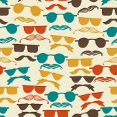 Vector Seamless hipster pattern with glasses and mustache poster