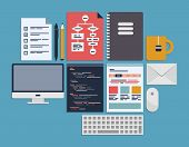 Flat design vector illustration icons set of web page programming user interface elements and workflow objects. Isolated on blue background poster