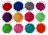 Colorful pigments powders isolated on white background poster