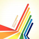 a rainbow coloured arrow line perspective background poster