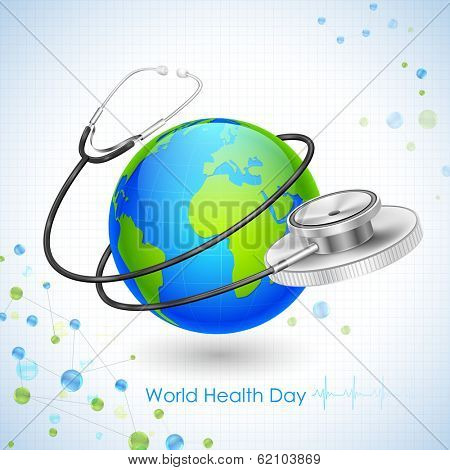 illustration of concept for World Health Day with stehescope around Earth