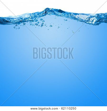 Water wave with bubbles in the sea on a white background for text