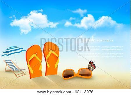 Flip flops, sunglasses, beach chair and a butterfly on a beach. Summer vacation background. Vector.