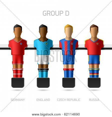 Table football, foosball players. Group D - Germany, England, Czech Republic, Russia. Vector.