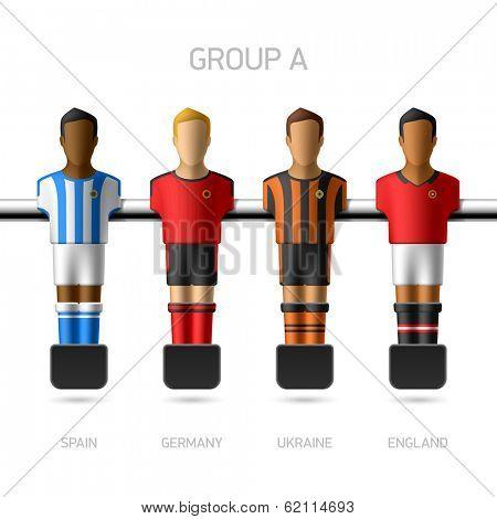 Table football, foosball players. Group A - Spain, Germany, Ukraine, England. Vector.