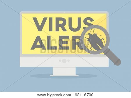 minimalistic illustration of a monitor with a virus alert on screen, eps10 vector