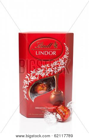 TELFORD, UK - MARCH 25, 2014: A box of Lindt Lindor chocolate truffles.  Lindt is part of the Lindt & Sprungli group, a Swiss company.  Since 1845 Lindt has been producing the worlds finest chocolates