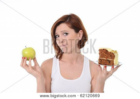 Young Attractive Woman Dessert Choice Junk Cake Food or healthy Apple poster